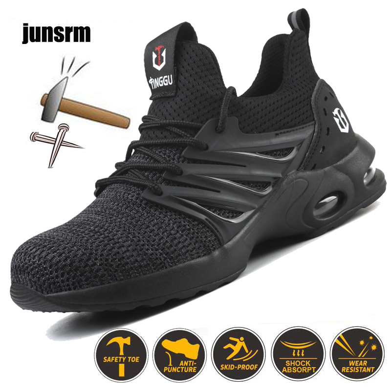 Safety-Shoes Men's Lightweight Anti-Smashing Casual Mesh And Fly Woven Sports Breathable
