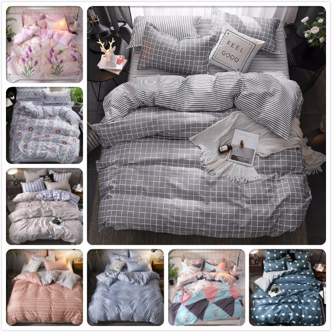 Gray Plaid Duvet Cover 3/4 Pcs Bedding Set Adult Child Soft Cotton Bed Linen Single Twin Full Queen King Size Bedspreads 220x240
