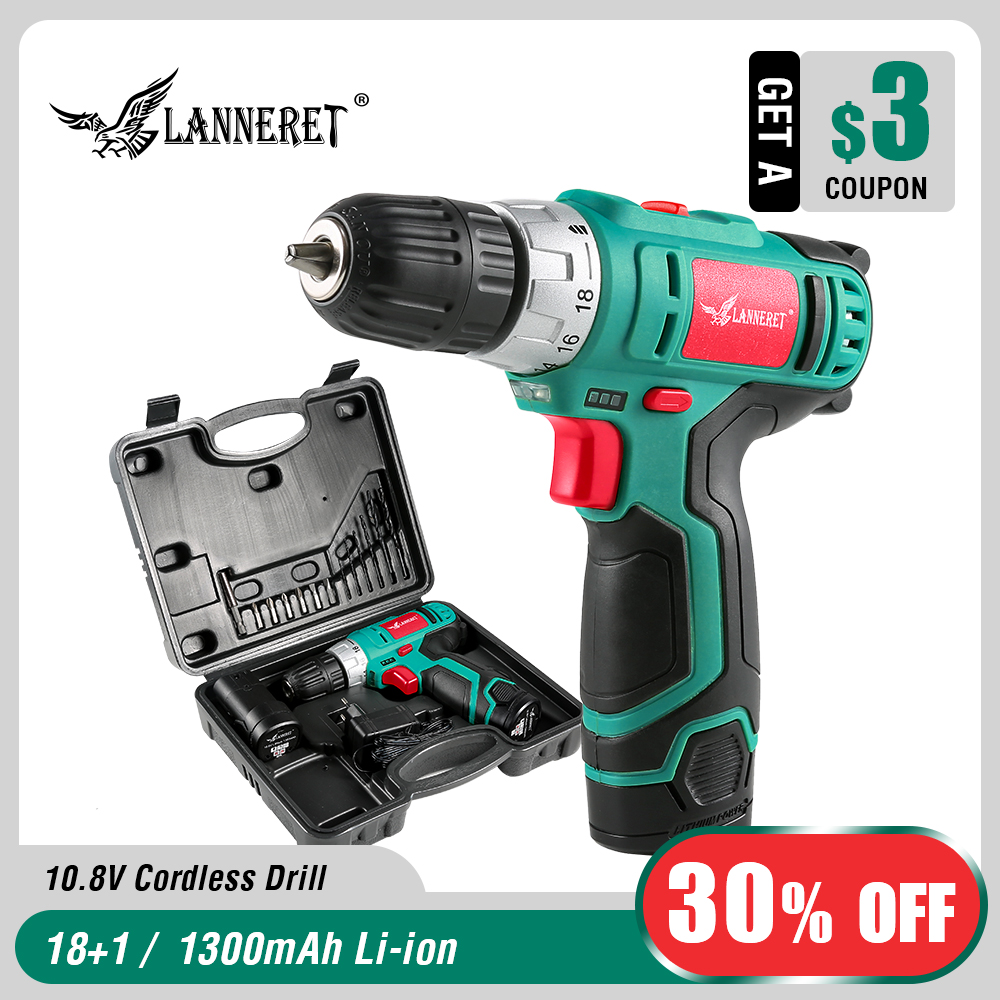 LANNERET 10 8V Electric Cordless Drill 18 1 Torque Setting 2 Speed Rechargeable Wireless Power Driver