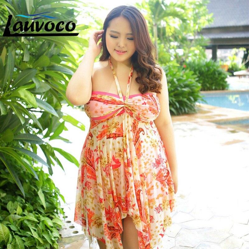 Floral Two Piece Suits Plus Size Beach Dress Swimwear Women Cover-up Large Size Skirt Shorts Fat Swimsuit Large Size 7XL-12XL