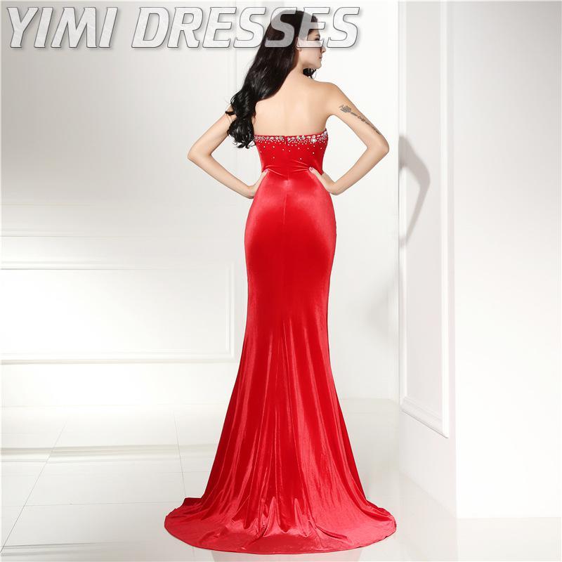 Sexy corte vermelho veludo vestidos de noite longo beading sereia baile de formatura vestidos de festa plus size formal vestido feminino elegante vestidos de gala - 3