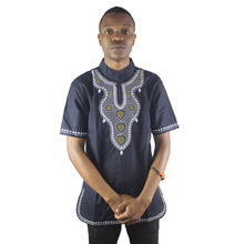 Africa Front and Back Embroidery Men`s Dashiki Tops Summer Male Shirt for Wedding Wearing