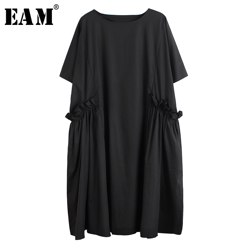 [EAM] Women Black Ruffles Split Joitn Big Size Dress New Round Neck Half Sleeve Loose Fit Fashion Tide Spring Summer 2020 1T097