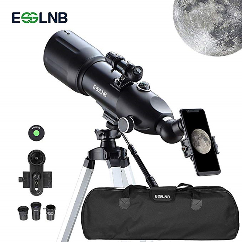 Telescopes For Adults  Astronomy Beginners 80mm Astronomy Telescopes With 10X Phone Mount Refractor Telescope Tripod And Case