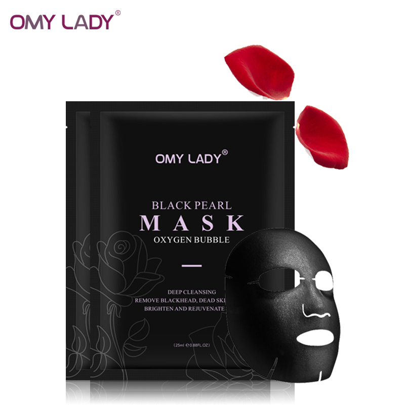 5pcs Omylady Oxygen Bubble Facemask Amino Acid Deep Pore Clean Black Face Mask Whitening Facial Skincare Treatment Mask Facecare
