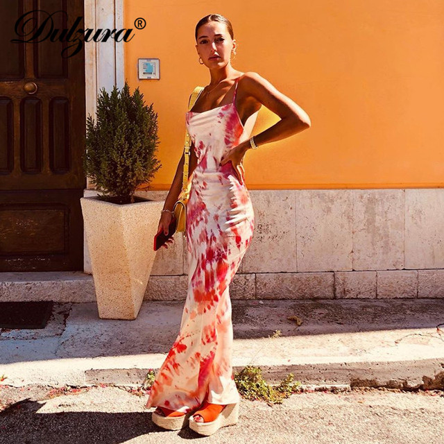 Dulzura neon satin lace up 2019 summer women bodycon long midi dress sleeveless backless elegant party outfits sexy club clothes 4