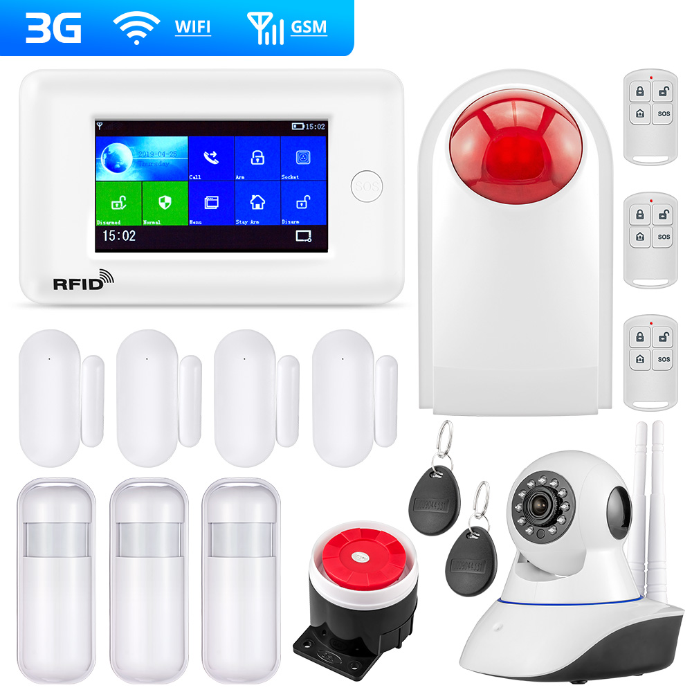 FUERS PG106 WIFI GSM Alarm System 4.3inch TFT Color Screen 2G 3G GPRS Home Security Alarm Host APP RFID Control With 10 Language
