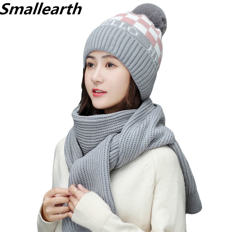 2 Pieces Set Women's Winter Hats Scarf Cotton Plus Velvet Beanies Caps Girls Hat And Scarf Set PomPoms Hats Knitted Long Scarf