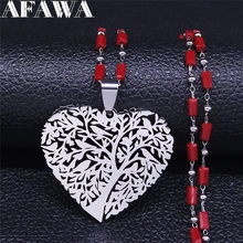 Love Heart Tree of Life collane con ciondolo rosso in acciaio inossidabile collane Color argento gioielli da donna regalo di san valentino NXS01