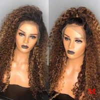 13x6 #1b/30 pelucas de cabello humano de frente rizado de encaje medio Ratio parte profunda Ombre miel pelucas de cabello humano Rubio preplumado brasileño Remy