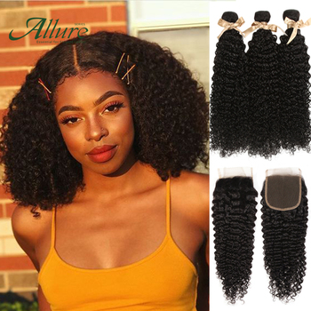 Kinky Curly Human Hair Bundles With Closure Peruvian Human Hair Remy Hair Weave Curly 3 4 Bundles With Frontal Customized Allure image