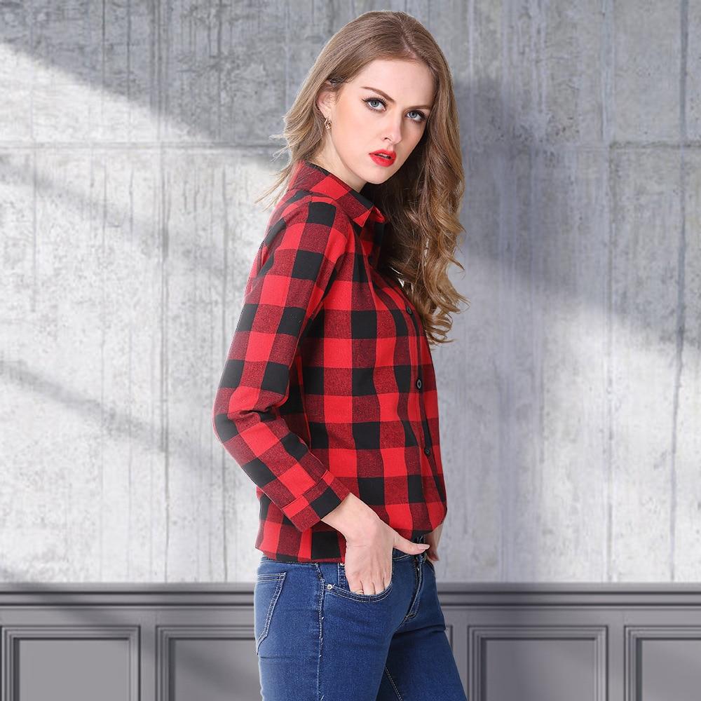 2020 Versatile WOMEN'S Dress Plaid Shirt, Mid-length Slim Fit Women's Tops, Long-sleeved Shirt
