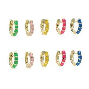 2020 Лето Горячая Распродажа Мода Золотой цвет ювелирные изделия Красочные неоновая эмаль мини маленькая серьга-кольцо