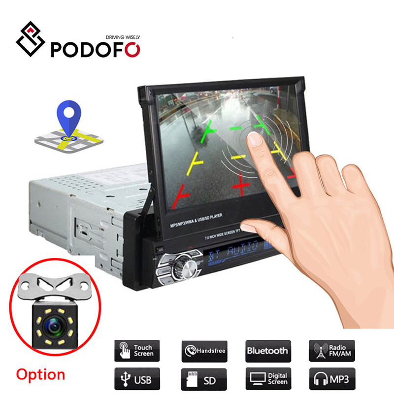 "Автомагнитола 1din Podofo, стерео система с Bluetooth, с 7 ""экраном HD, камерой заднего вида, FM радио, Типоразмер 1DIN|touch car radio|car stereo audioradio touch | АлиЭкспресс"
