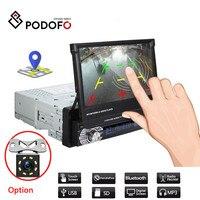 Podofo 1din Car Radio Retractab Autoradio Bluetooth Car Stereo 7 HD Car Player In Dash Car Stereo FM MP5 With Rear View Camera