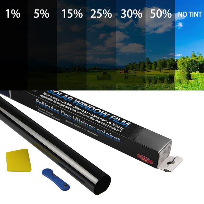 300cm x 50cm siyah araba pencere folyo tonu renklendirme filmi rulo araba oto ev pencere camı yaz güneş UV koruyucu Sticker filmler