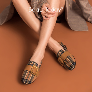 BeauToday Loafers Women Calfskin Genuine Leather Plaid Cloth Metal Buckle Round Toe Slip-On Lady Flat Shoes Handmade 27363 beautoday monk shoes women buckle straps genuine leather calfkin round toe lady flats handmade brogue style shoes 21408