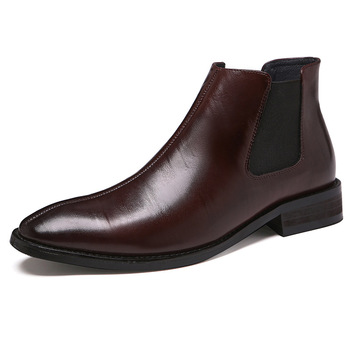 men's leisure comfortable short boots gentleman cow leather shoes slip on oxford shoe outdoor chelsea boot bota masculina sapato