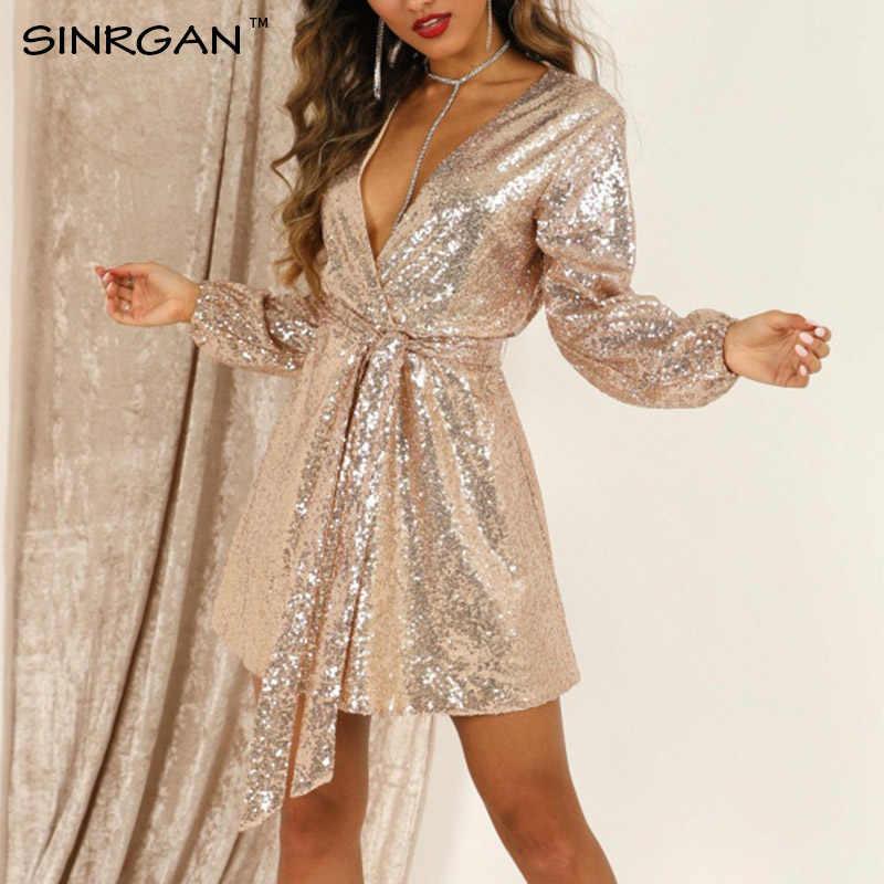 Sinrgan Vrouwen Romilly Sequin Sexy Club Jurk V-hals Sjerpen Zilveren Shining Avond Mini Jurk