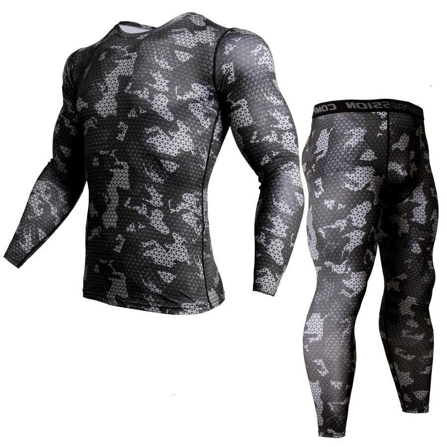 2019 New Crossfit 3D T Shirt Men Compression Set Long Sleeve Black White Camouflage Print Mens Sportswear MMA Rashguard Tshirt