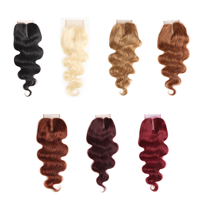4x4 Lace Closure 99J/Burgundy Ombre Brazilian Body Wave Human Hair Free/Middle Part Swiss Lace Closure Non- Remy Hair Closure