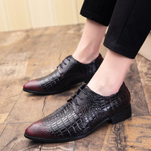 Classic Italian Man Flats Wedding Men's Dress Shoes Pointed Toe Shoes Crocodile Pattern Loafers Men Shoesherenschoenen(China)