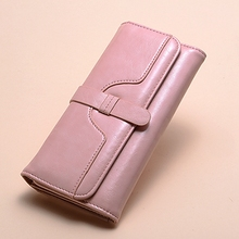 Wallet Women Ladys Long Fashionable Waxed Leather Triple Tut With Plain Vintage Purse Clasp Credit Card  Hand Wal
