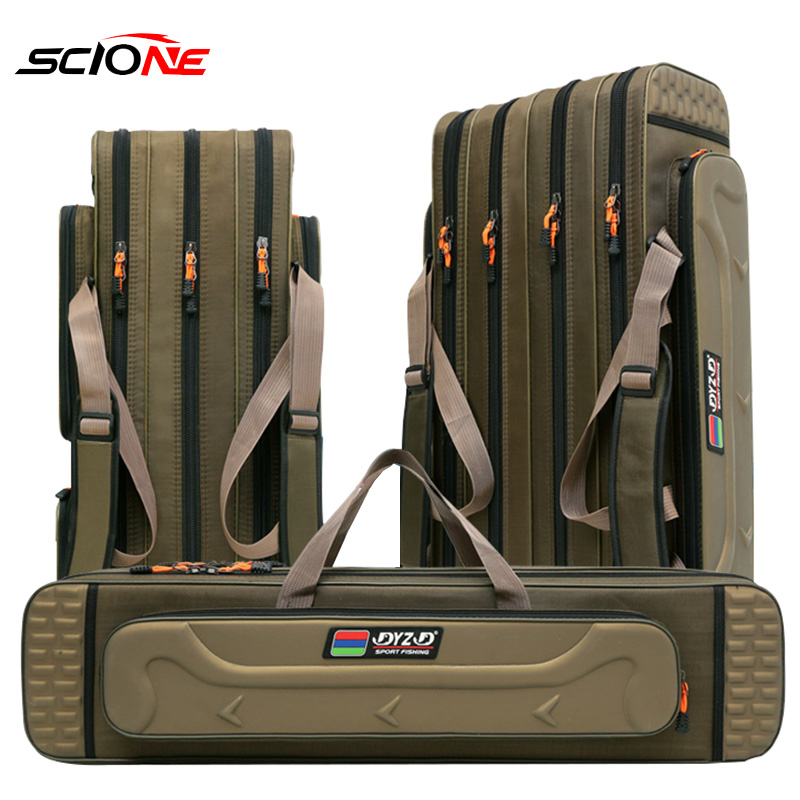 2/3/4 Layer 80/90/100/120CM Fishing Bag  Multifunctional Fishing Rod Reel Lure Pole Storage Bag Case Fishing Gear Tackle  XA153G