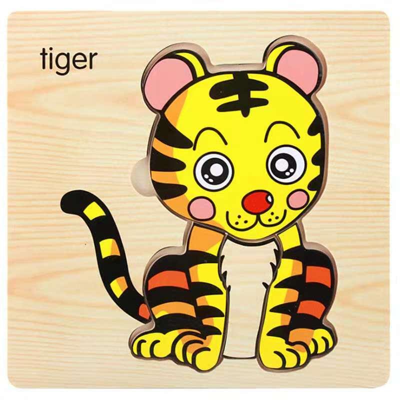 3D деревянные головоломки, игрушки для детей, Деревянные 3d Мультяшные головоломки с животными, интеллектуальные детские развивающие игрушки для детей - Цвет: Светло-серый