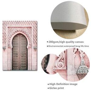 Image 5 - Fas kemer eski kapı tuval boyama İslam bina duvar sanat posterleri Hassan II cami baskı müslüman Modern dekorasyon resim