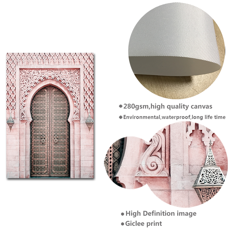 Image 5 - Moroccan Arch Old Door Canvas Painting Islamic Building Wall Art 