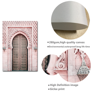 Image 5 - Moroccan Arch Old Door Canvas Painting Islamic Building Wall Art Poster Hassan II Mosque Print Muslim Modern Decoration Picture