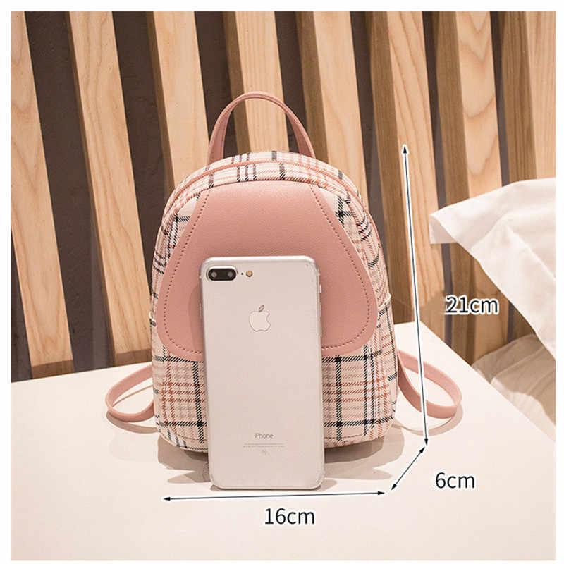 Vento Marea Mini Ransel Tas Selempang untuk Gadis Remaja Kotak-kotak Bahu Wanita Ponsel Dompet Gaya Korea Baru Trendi Wanita Bagpack