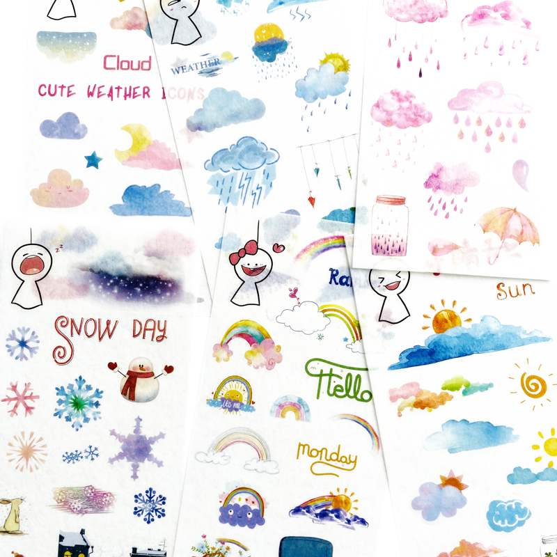 6 Sheets/Pack Cute Sunny Day Weather Washi Sticker Adhesive Stick Label DIY Hand Account Decor