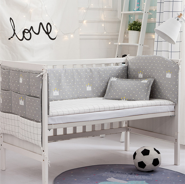 6/9PCS Baby Bed Fence Nordic Stars Design Baby Bed Thicken Bumpers Baby Decoration Baby Duvet Sheet,120*60/120*70cm