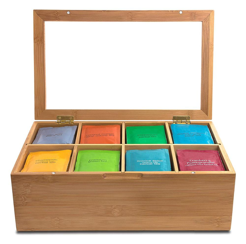 2020 New 12 Inch Wooden Tea Box 8 Compartments Storage Container Wood Gift Store Eco-Friendly Multifunctional Container Case