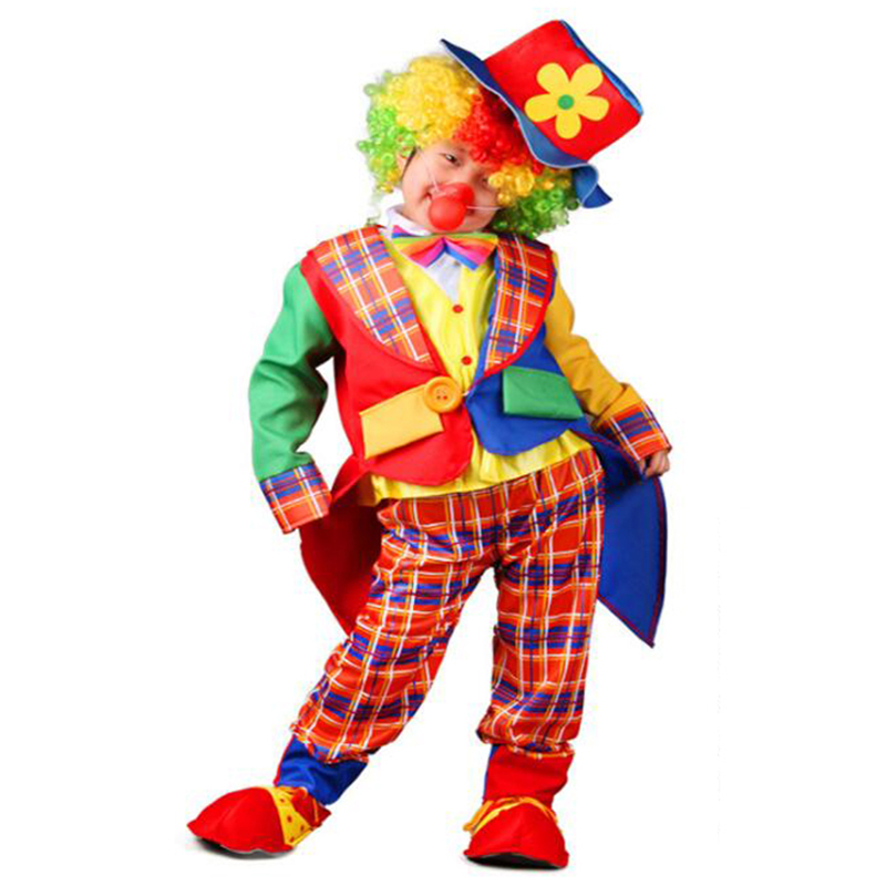 Halloween Costumes Kid Funny Circus Clown Cos Costume Set With Hat Naughty Harlequin Uniform Fancy Cosplay Clothing For Boy Girl