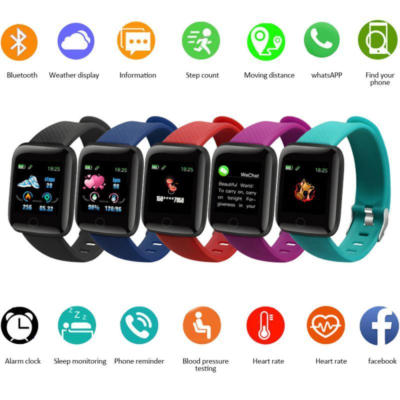 116 além disso pulseira esporte inteligente tela colorida freqüência cardíaca pressão arterial monitor de sono relógio de fitness rastreador pedômetro à prova dwaterproof água