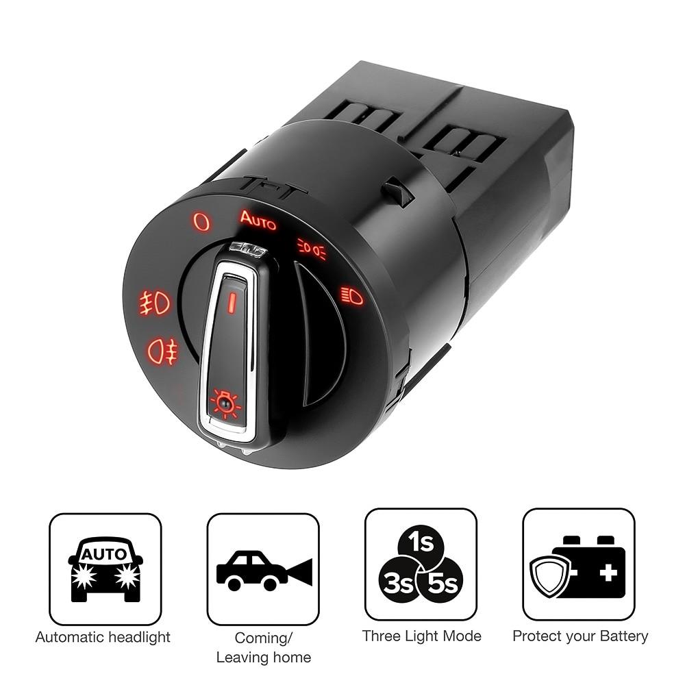 Авто головного средства ухода за кожей Шеи светильник переключатель для VW Golf Jetta MK5 6 Tiguan Touran Passat Polo Bora головной светильник лампа авто-переклю...