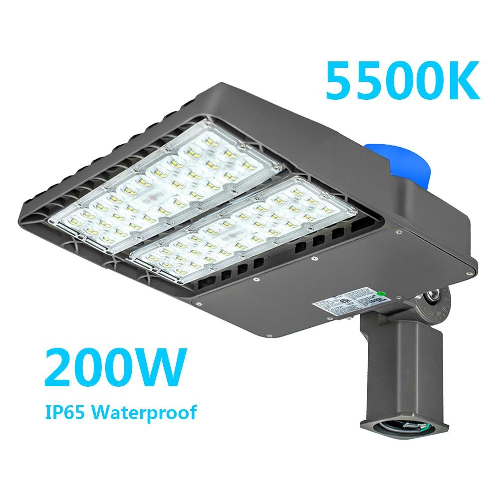 200W LED Street Light 18000lm 110V-277V Lamp LED Parking Lot Light Outdoor Dusk To Dawn Patio Lights Waterproof Garage Court