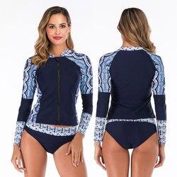 2 peça feminina de manga longa uv proteção solar rash guard maiô superior com parte inferior zip up natação camisa & cuecas fatos de banho