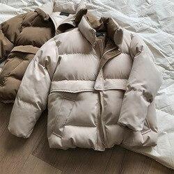 Mooirue зима осень Харадзюку повседневное пальто Женская хлопковая стеганая одежда утолщение теплый хлопок сплошной цвет пальто