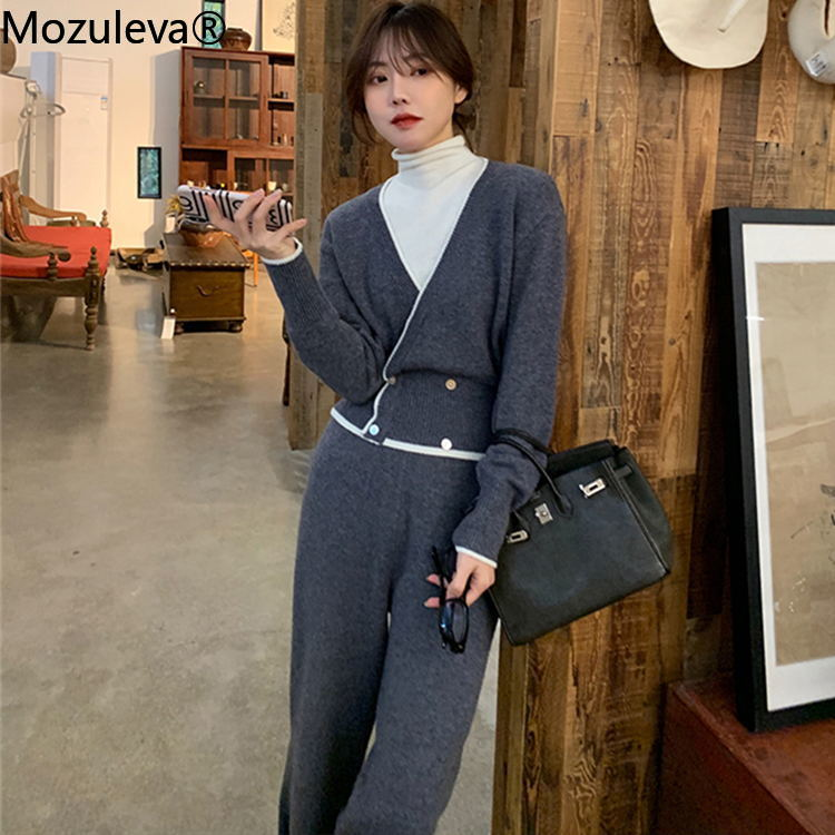 Mozuleva Autumn Winter Knitted 2 Pieces Set Tracksuits Women Thick Warm O-neck Loose Sweater + Length Pants Warm Cashmere Suit