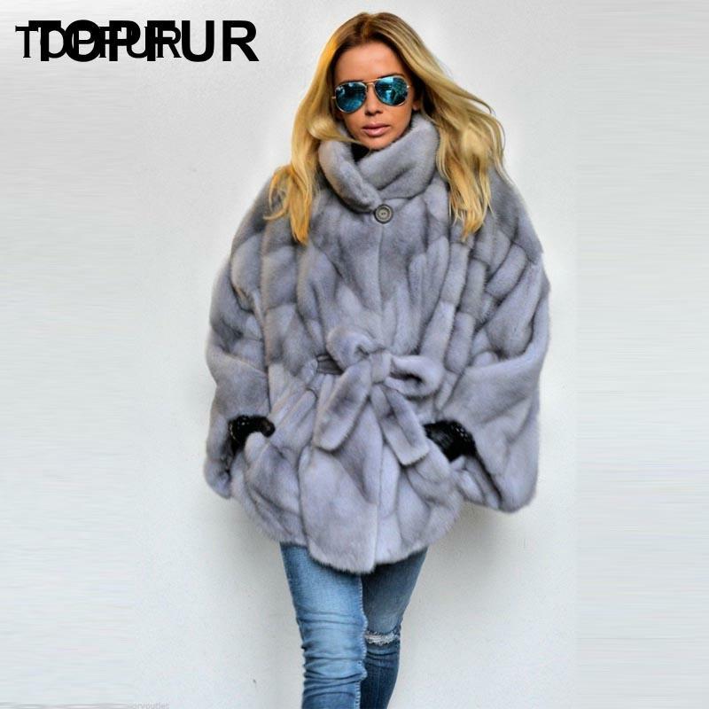 TOPFUR 2019 New Coming Real Mink Fur Coats Women's Bat Type Long Fur Coat With Stand Collar Popular Cool Girl's Mink Fur Outwear
