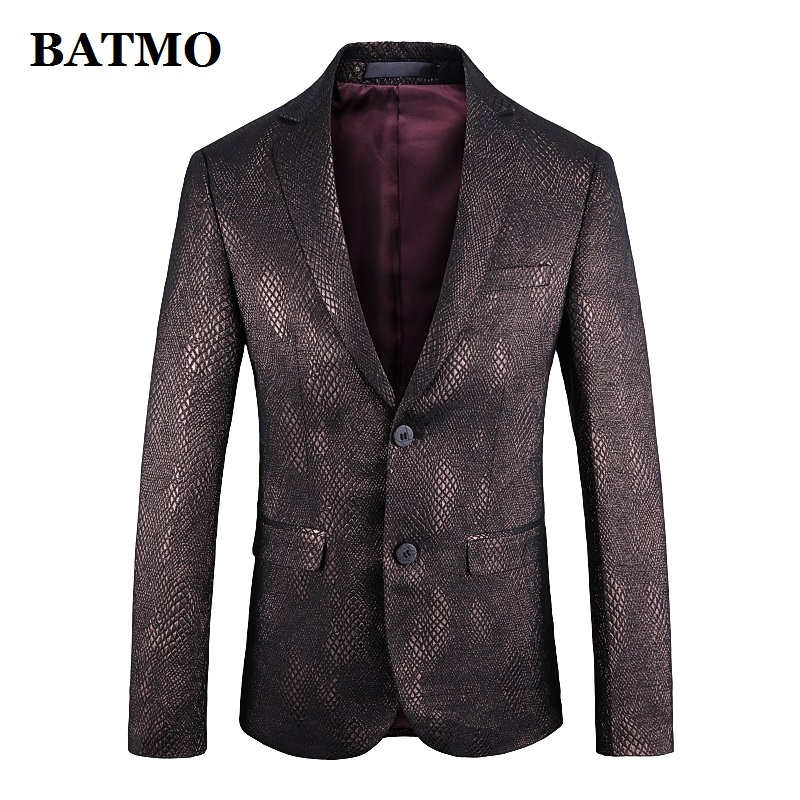 Batmo 2019 New Arrival High Quality Printed Snake Skin Casual Blazers Men,printed Men's Jackets Plus-size 1926