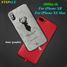 Deer graphic For iPhone XS Max Portable Power Bank Cover For iPhone XR Battery Charger Case 4000mAh External Backup Power Case