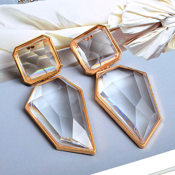 Clear And Pure Crystal Irregular Dangle Earrings  5