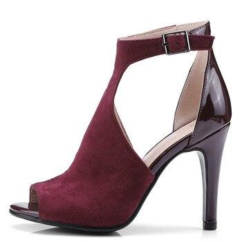 YECHNE Women Peep Toe Sandals Big Size 43 Fetish Sexy High Heels Sandalias Summer Red Black Wedding Spartiate Femme Shoes