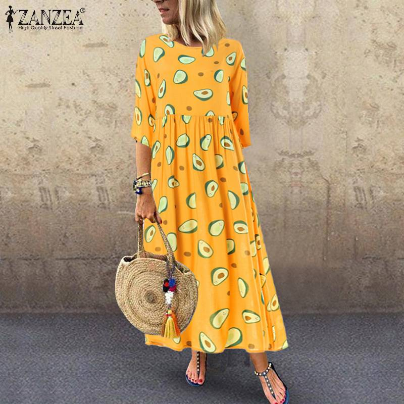 Women's Printed Sundress ZANZEA 2019 Elegant Summer Maxi Dress Casual 3/4 Sleeve Long Vestidos Female Pleated Robe Plus Size 5XL