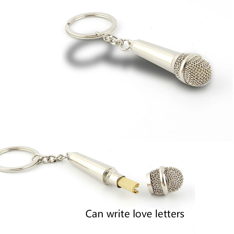 New Metal Keychain Creative Music Gifts Key Chain Key Ring Microphone Keychain Fashion Key Chain Creative  Cute Keychain